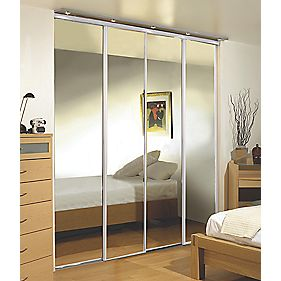 Sliding Wardrobe Doors White Frame Mirror Panel 4-Door 2943 x 2330mm