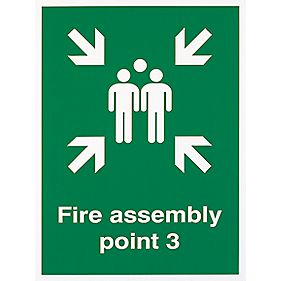 """Fire Assembly Point 3"" Sign 400 x 300mm"