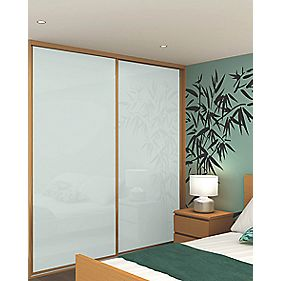 Sliding Wardrobe Doors Oak Effect Frame White Glass Panel 2-Dr 1485x2330mm