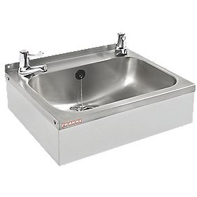 Franke WB18 Square Wall-Hung Washbasin & Lever Tap Pack Stainless Steel 1 Bowl & 457 x 156mm