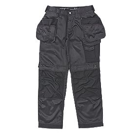"Snickers DuraTwill Trousers with Holster Pockets Black 30"" W 32"" L"