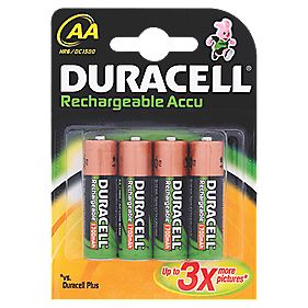 Duracell AA Rechargable Batteries Pack of 4