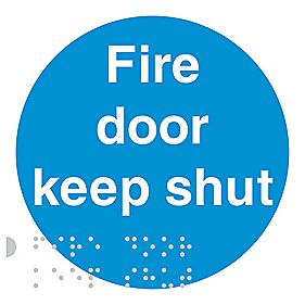 "Braille ""Fire Door Keep Shut"" Sign 100 x 100mm"