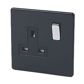 Varilight 1-Gang 13A Double Pole Jet Black Switch Socket with Metal Rocker
