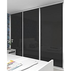Sliding Wardrobe Doors White Frame Black Glass Panel 3-Door 2672 x 2330mm