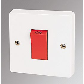 Crabtree 45A 1-Gang Cooker Switch with Neon White