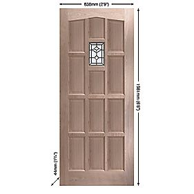 Jeld-Wen Sheff Redesdale External Door Unfinished Oak Veneer Universal Application (Non-Handed) 838 x 1981mm