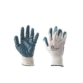 Secure Handling Nitrile-Coated Knitted Gloves Blue Large