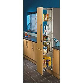 hafele pull out larder unit 300mm chrome cabinet storage. Black Bedroom Furniture Sets. Home Design Ideas