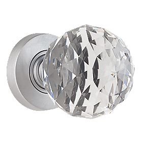 Jedo Faceted Glass Mortice Knobs Pair Satin Chrome