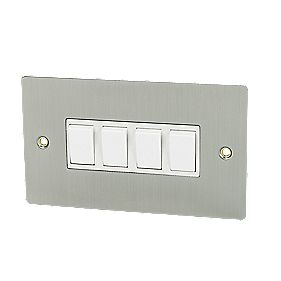Volex 4-Gang 2-Way 10AX Switch Brushed Stainless Flat Plate