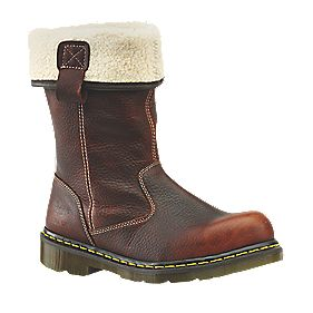 Dr Martens Rosa Fur-Lined Ladies Rigger Safety Boots Teak Size 6