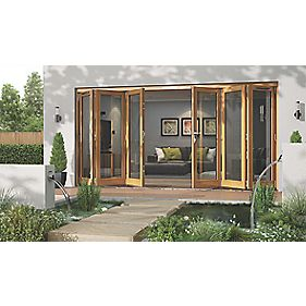 Jeld-Wen Canberra Slide & Fold Patio Door Set Golden Oak 4794 x 2094mm