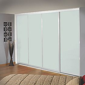 Sliding Wardrobe Doors White Frame White Glass Panel 4-Door 2943 x 2330mm