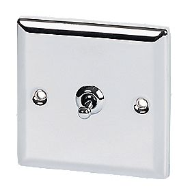 Volex 1-Gang 2-Way Toggle Switch Polished Chrome Angled Edge