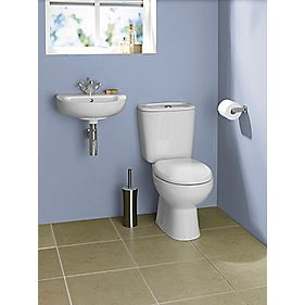 Salcombe 1 Tap Hole Cloakroom Suite Wall-Hung Basin & 6Ltr CC Toilet White
