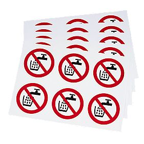 Do Not Drink Symbol Adhesive Labels 100mm x mm Pack of 30
