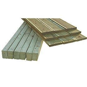 Decking Pack Light Green Wood 3.6 x 3.6 x 0.08m