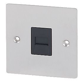 Volex Telephone Slave Blk Ins Brushed Stainless Steel Flat Plate