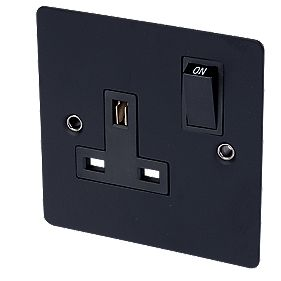 Volex 13A 1-Gang DP Switched Socket Blk Ins Matt Black Flat Plate