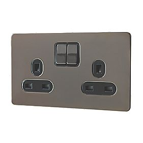 GET 2-Gang 13A Switched Socket Black Ins Black Nickel