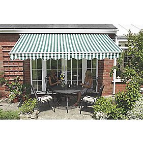Greenhurst Extendable Patio Awning Green / White 2.5 x 2m