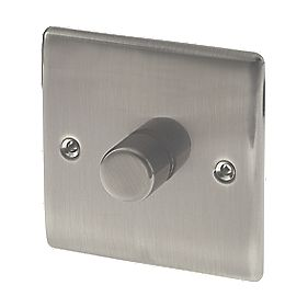 British General 1-Gang 2-Way Push Dimmer Switch 400W Brushed Iridium