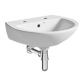 Wall-Hung Cloakroom Basin 2 Tap Holes 450mm