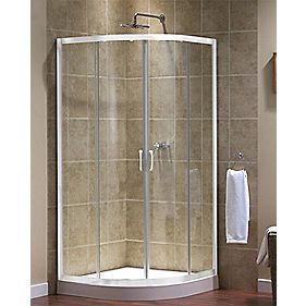 Aqualux Quadrant Shower Enclosure Sliding Doors White 800mm