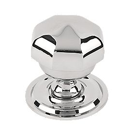 Octagonal Centre Door Knob Polished Chrome 77mm