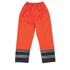 "Hi-Vis Elasticated 2-Tone Trousers Orange / Navy Large 68-117cm W 30"" L"