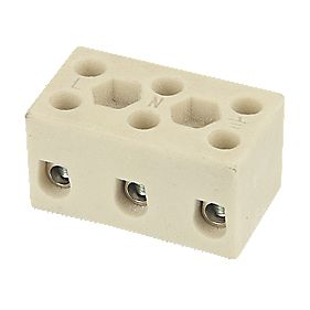 Hylec Triple Pole 32A Steatite Ceramic Terminal Blocks Pack of 5