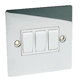 Volex 3-Gang 2-Way 10AX Switch Polished Chrome Flat Plate