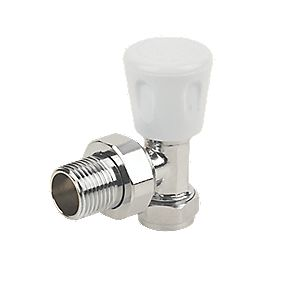 "Angled Radiator Valve Chrome 15mm x ½"" Pack of 10"