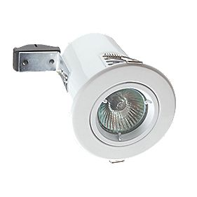 Robus Fixed Round Mains Voltage Fire-Rated Downlight White 240V Pack of 10