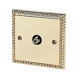 "Single ""F"" Satellite Socket Georgian Brass"