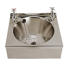 Franke Model B Round Stainless Steel Wall-Hung Washbasin 340mm with 2 Taps
