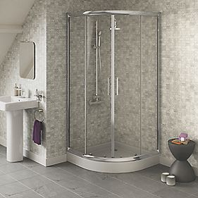 Swirl Chrome Effect Quadrant Slider Door Shower Enclosure 800 x 1800mm