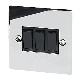 Volex 10A 3-Gang 2-Way Switch Blk Ins Polished Chrome Flt Plt