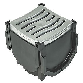 FloPlast FloDrain Galvanised Quad Connector Drain Cover & Galvanised Grate