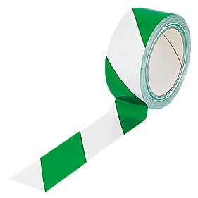 Green And White Chevron Hazard Tape 50mm x 33m