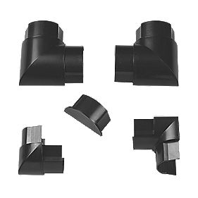 TV Trunking Accessory Pack Black 50 x 25mm 5Pcs
