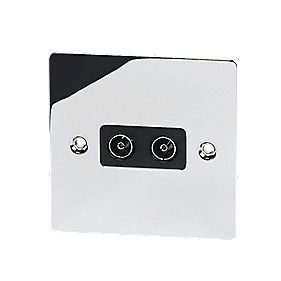 Volex Twin TV Socket Blk Ins Polished Chrome Flt Plt