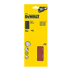 DeWalt 115 x 228mm 80 Grit ½ Sanding Sheets Pack of 10
