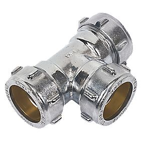 Conex Chrome Compression Equal Tee 28mm