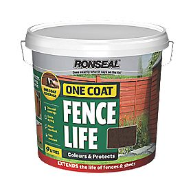 Ronseal Brushable One Coat Fence Life Dark Oak 9Ltr