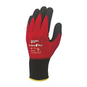 Skytec Beta 1 Nylon Nitrile Gloves Red Large