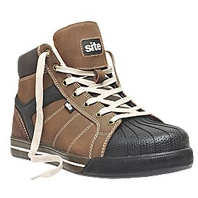 Site Shale Hi-Top Safety Boots Brown Size 11