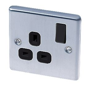 LAP 13A 1-Gang DP Switched Plug Socket Stainless Steel