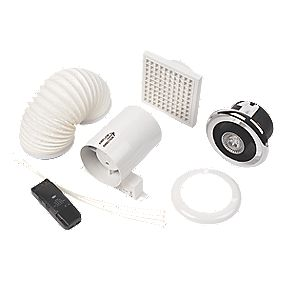 Manrose In-Line Shower Fan Kit with LED Light Bright Chrome 100mm